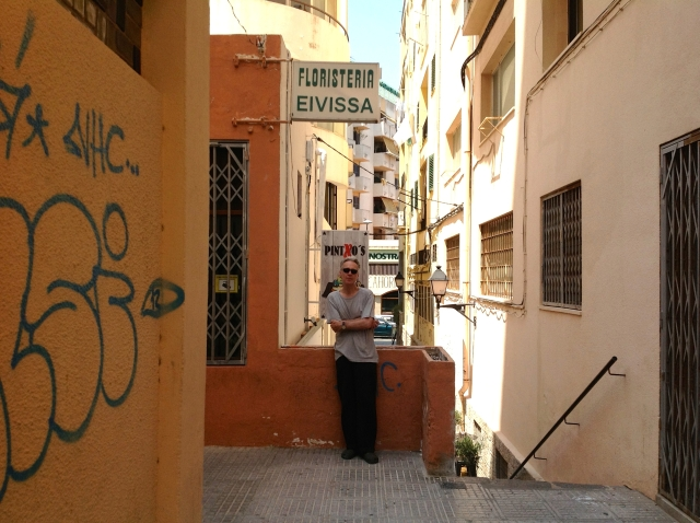 JAMES YOUNG IN THE ALLEY WHERE NICO DIED, EXACTLY 25 YEARS TO THE DAY EARLIER, PHOTO HELEN DONLON