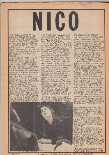 Image result for nico at music machine adverts gig 1978